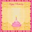 Illustration of cute retro cupcakes card - Happy Birthday Card — Stock vektor #10967774