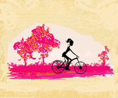Cycling Grunge Poster with silhouette Girl — Stock Vector