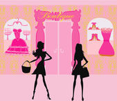 Fashion silhouettes girls Shopping in the city — Stock Vector