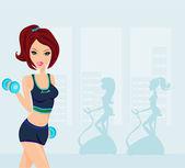 Spor salonunda egzersiz kadın — Stok Vektör