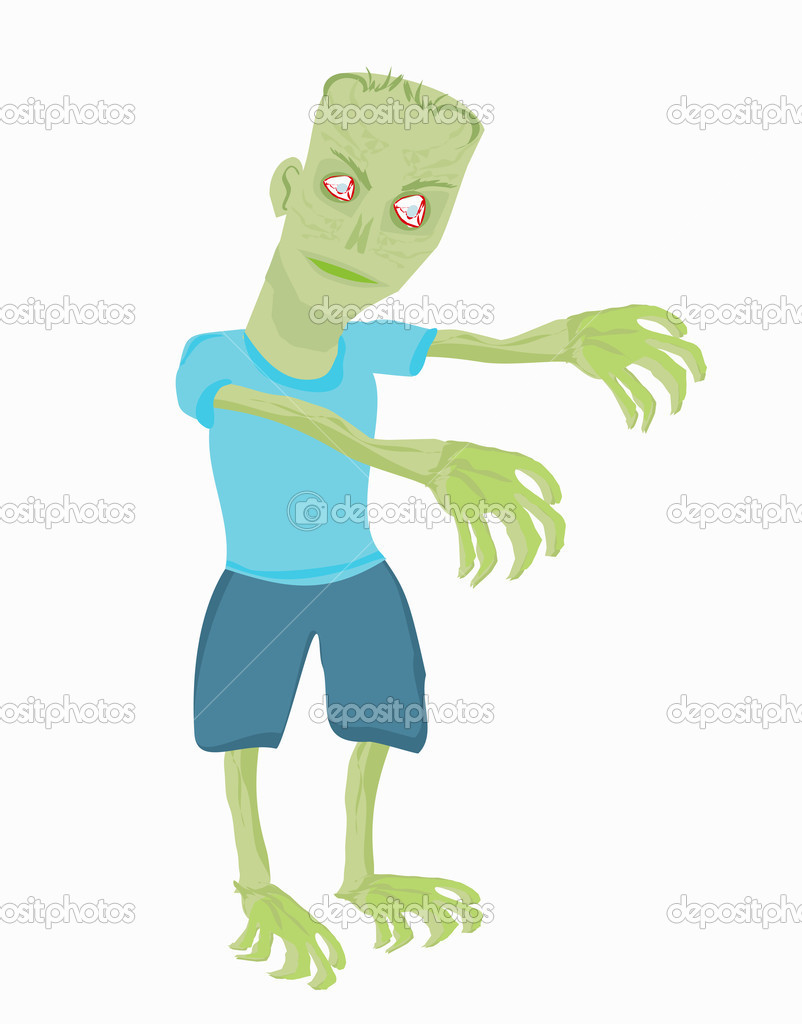 Cartoon zombie isolated on white  — Stock Vector #10969246