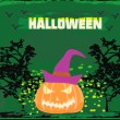 Broken halloween pumpkin on grunge green background vector illustration — Stockvectorbeeld