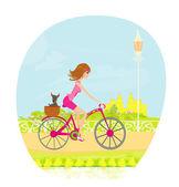 şehirde bisiklet sürmek kadın — Stok Vektör