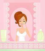 Cute woman applying moisturizer vector illustration — Stock Vector