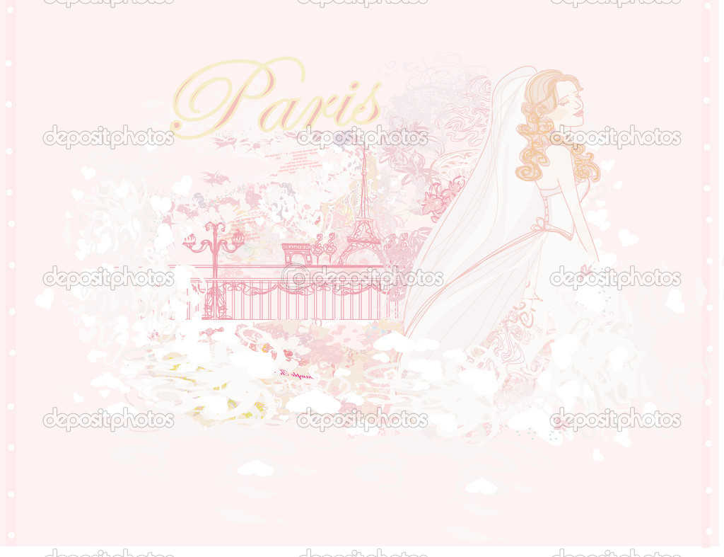 Beautiful bride in Paris card — Stock Vector #10997390