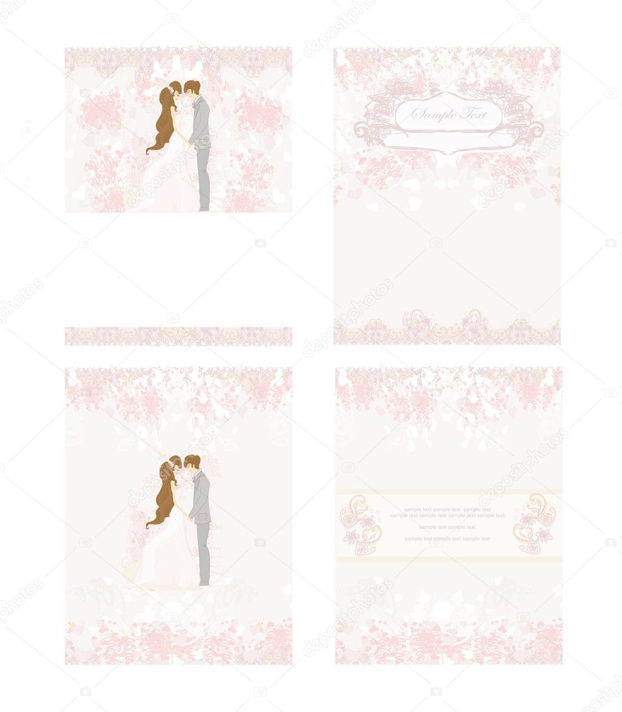 Elegant wedding invitation with wedding couple — Stock Vector #10997920