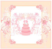 Wedding cake with wedding couple card design — Stock Vector