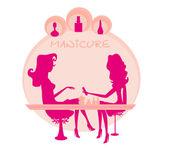 Jeune femme faisant de manucure dans un salon de beauté — Vecteur
