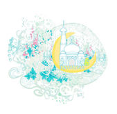 Artistic pattern background with moon and mosque — Stock Vector