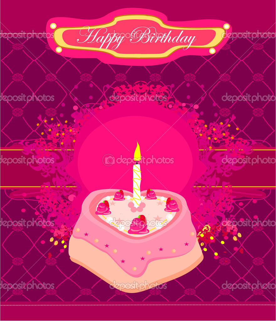 Happy Birthday with birthday cake Card   Stock Vector #11127872