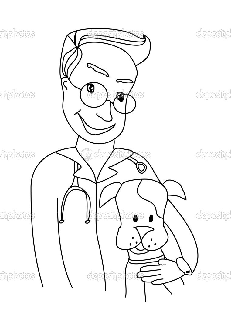 Dog and veterinarian - doodle illustration — Grafika wektorowa #11129591