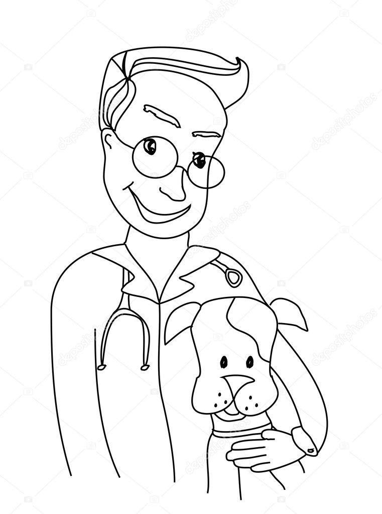 Dog and veterinarian - doodle illustration — Imagen vectorial #11129591