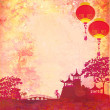 Old paper with Asian Landscape and Chinese Lanterns - vintage japanese style background , raster — Stock Photo #11151855