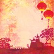 Old paper with Asian Landscape and Chinese Lanterns - vintage japanese style background , raster — Stock Photo