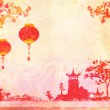 Old paper with Asian Landscape and Chinese Lanterns - vintage japanese style background , raster — ストック写真