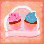 Vintage card with cupcake - raster — Stock Photo