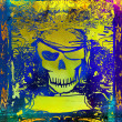 Skull Pirate - retro grunge card , raster — Stock Photo