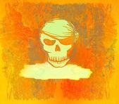 Czaszka pirata - retro grafika karta — Zdjęcie stockowe