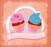 Grußkarte mit Cupcake - raster — Stockfoto