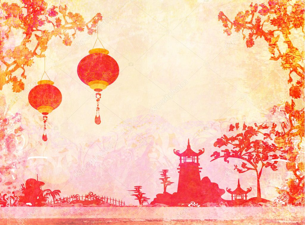 With Asian Landscape And Chinese Lanterns  Vintage Japanese Style