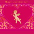 Happy valentines day card with cupid — Stock Vector