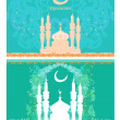Ramadan background - mosque silhouette card set — Stock Vector