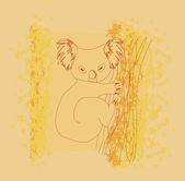 Bir ağaç çizimde oturan koala — Stok Vektör