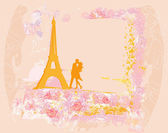 Romantic couple in Paris kissing near the Eiffel Tower Retro card — Stock Vector