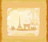 Vintage retro Eiffel card — Stock Vector