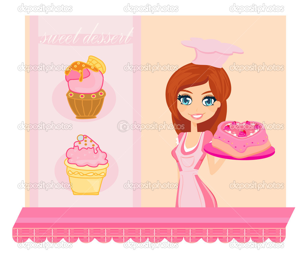 Illustration of a woman sells cake at a bakery store — Stock Vector #11226719