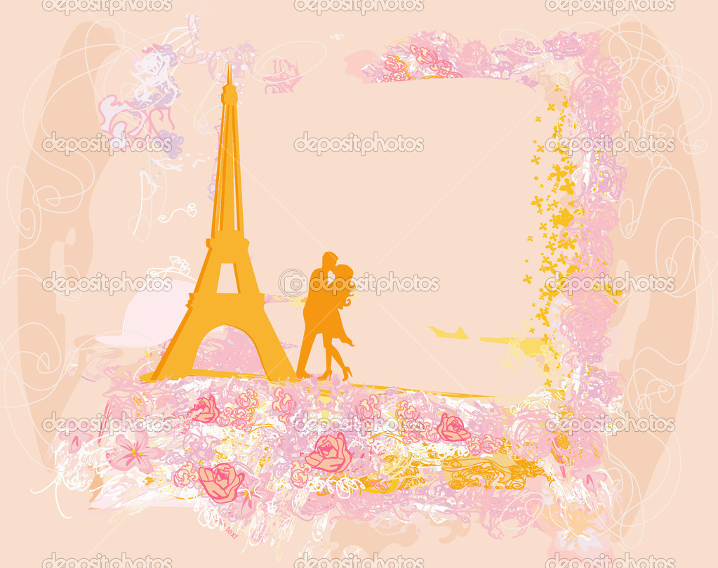Romantic couple in Paris kissing near the Eiffel Tower Retro card — Stock Vector #11227103