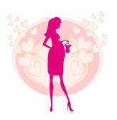 新しい赤ちゃんベクトル イラストのショッピングで美しい妊娠中の女性 — ストックベクタ