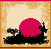 Abstract Asian Landscape with geisha silhouette — Stock Vector