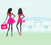 ファッション シルエット、市内のショッピングの女の子 — ストックベクタ