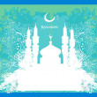 Stock Vector: Ramadan background - mosque silhouette vector card