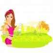 Jogging girl in summer — Stock Vector