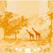 Grunge background with African fauna and flora - Stock Vector