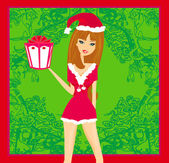 Beautiful pin-up girl in Christmas inspired costume — Stock Vector