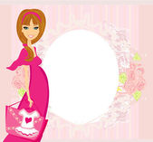 Beautiful pregnant woman on shopping for her new baby Vector Ill — Stock Vector