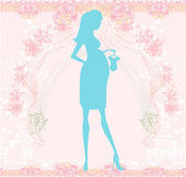 Beautiful pregnant woman on shopping for her new baby- abstract — Stock vektor