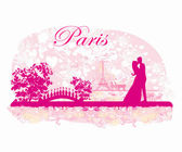 Romantic couple in Paris kissing near the Eiffel Tower Retro car — Stock Vector