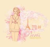 Beautiful women Shopping in Paris - vector card — Stock Vector