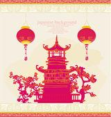 старая бумага с азиатским пейзажем и китайскими фонарями - старинные японцы разрабатывает фон — Cтоковый вектор