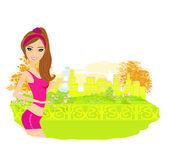 Chica para correr en verano — Vector de stock