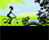 Cycling Poster with silhouette Girl — Vector de stock
