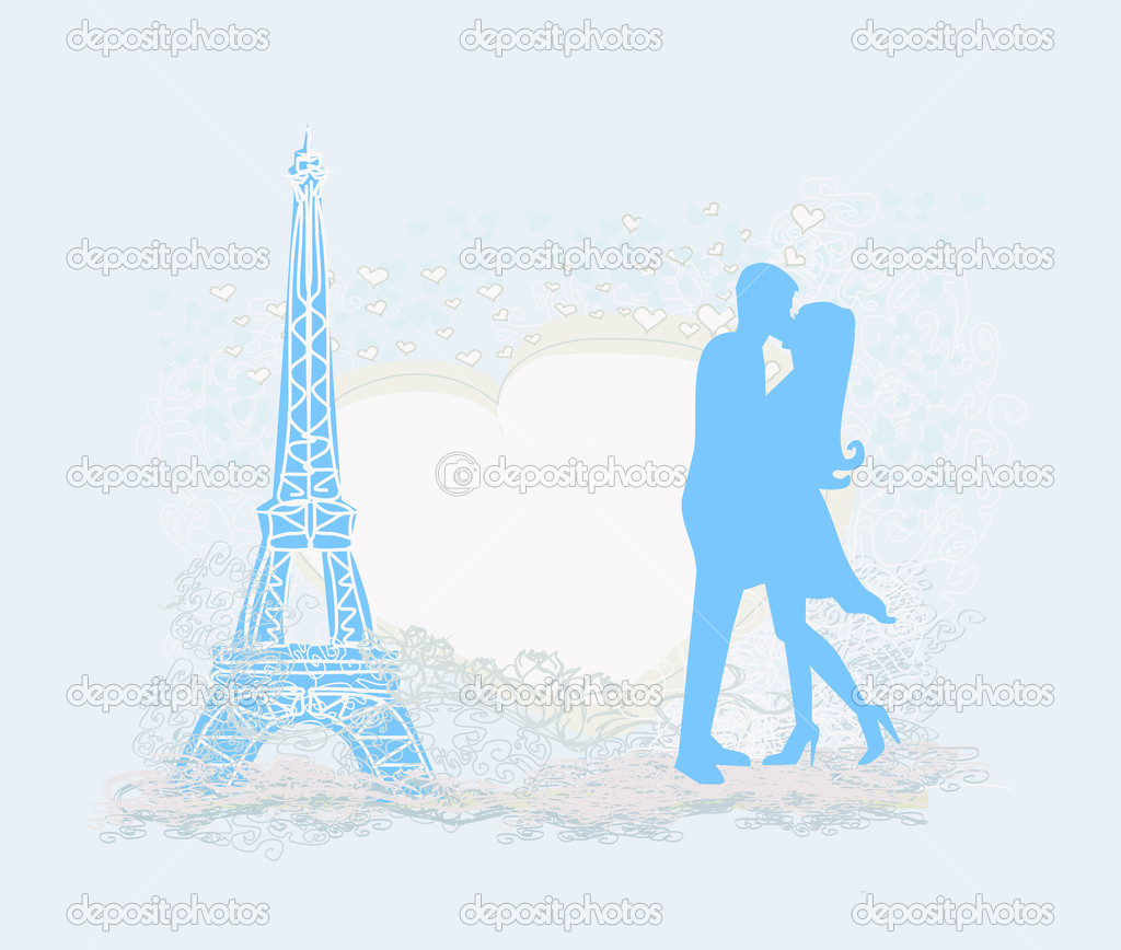 Romantic couple in Paris kissing near the Eiffel Tower Retro card — Stock Vector #11442106