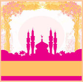 Ramadan background - mosque silhouette vector card — Vector de stock