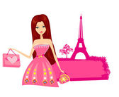 Beautiful women Shopping in Paris - vector card — Stock Vector