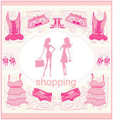 Chicas de siluetas de moda de compras — Vector de stock