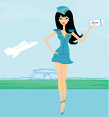 Beautiful stewardess with ticket — Stock Vector